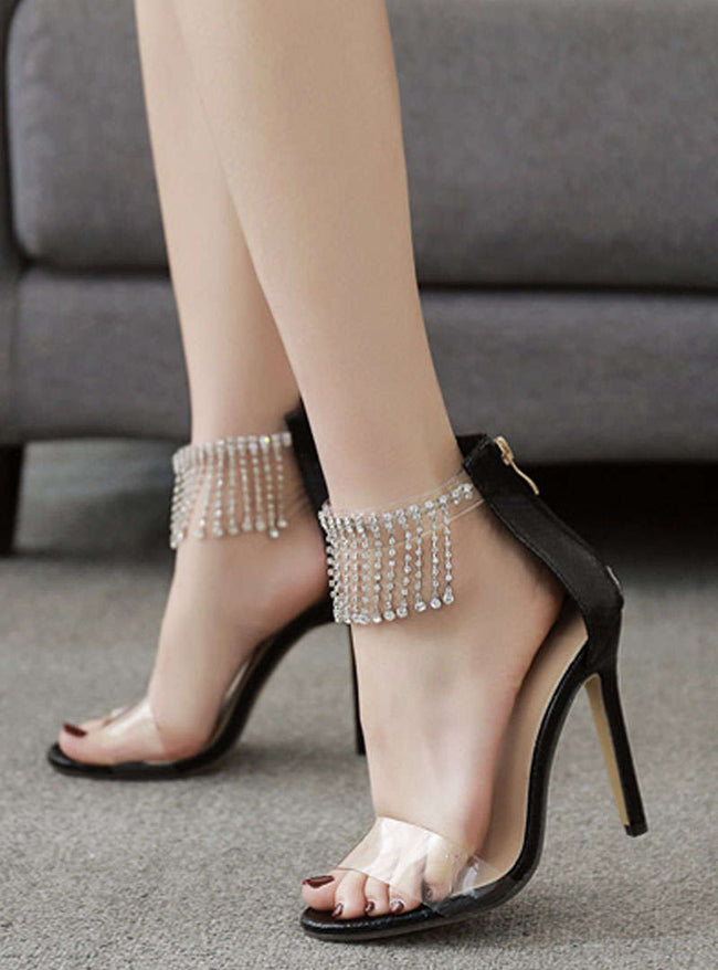 Zipper Rhinestone Stiletto Heel Sandals