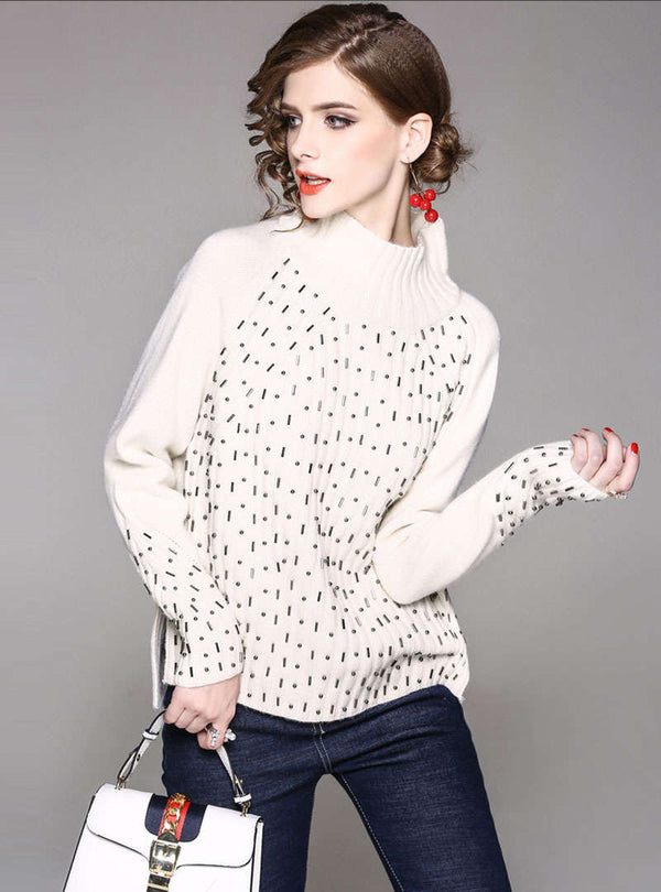Solid Color Beaded Loose Knitted Sweater