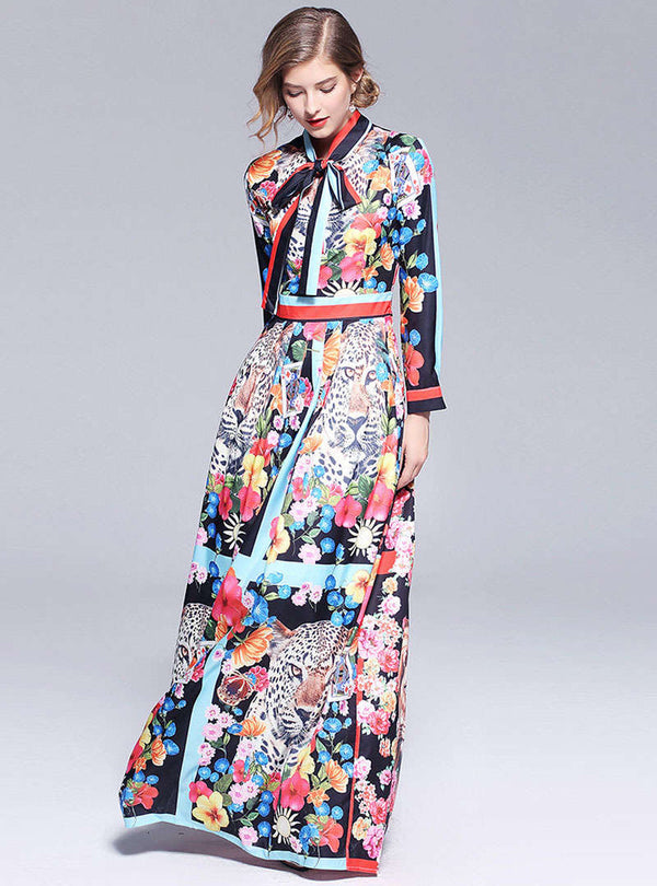 Chiffon Floral Printed Bowknot Maxi Dress