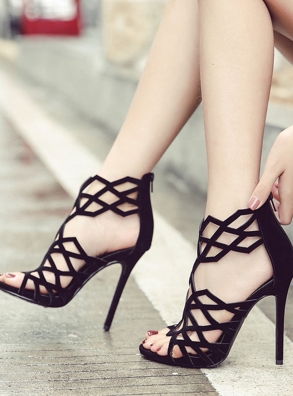 Black Hollow Cut Stiletto Heel Sandals