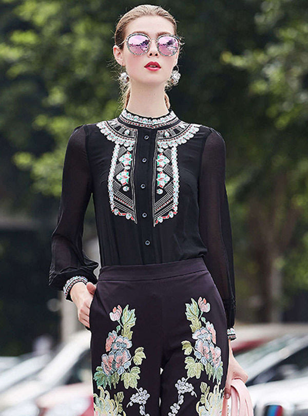 Solid Color Retro Embroidery Bodysuit OL Blouse