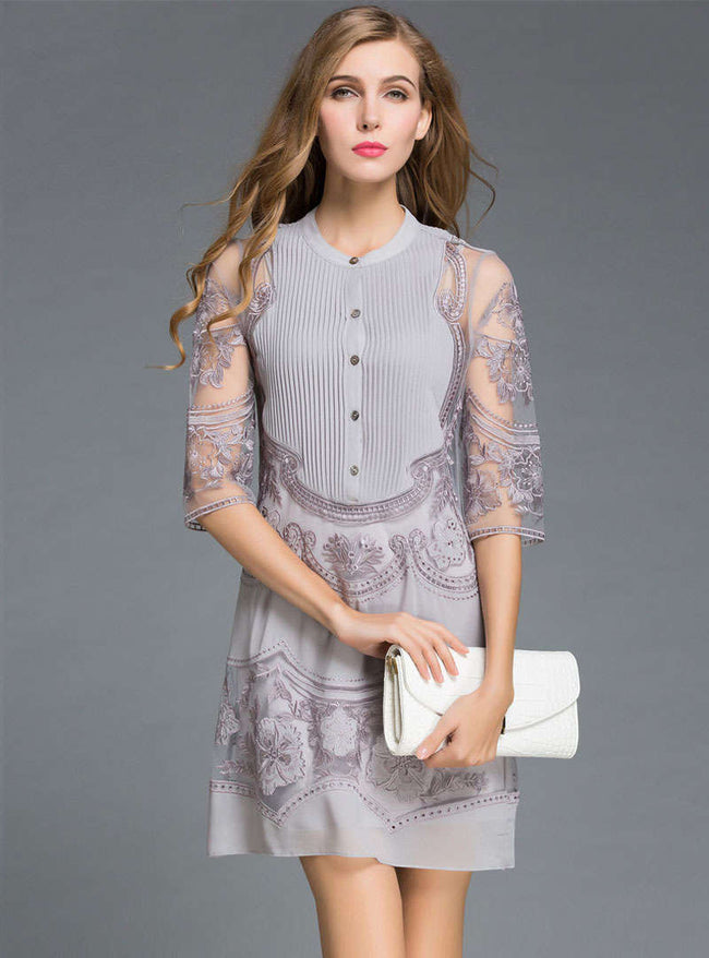 Grey Floral Embroidered A-Line Mini Dress