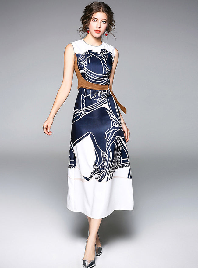 Blue Contrast Paneled Printed Maxi Dress