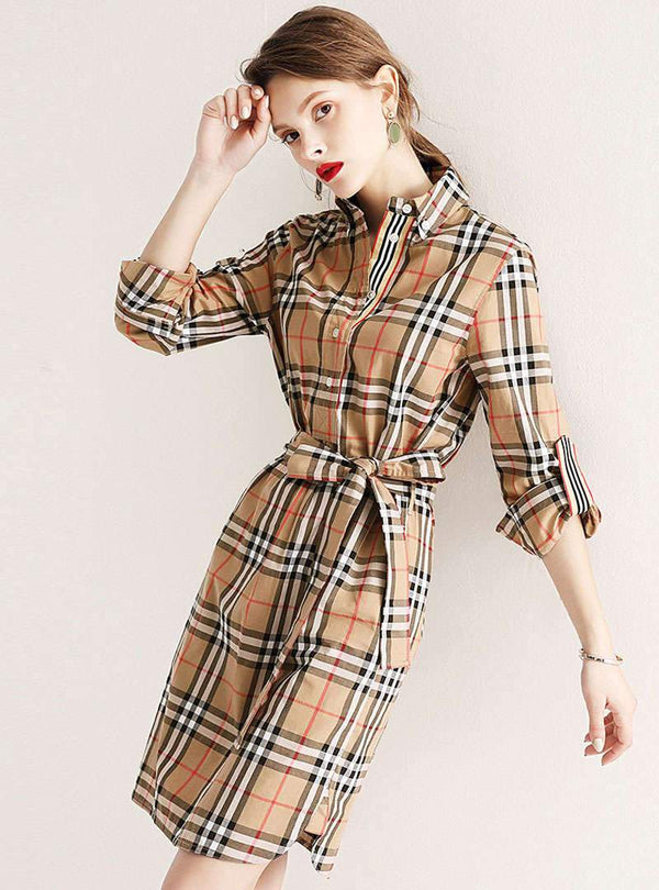 Khaki Tie Waist Turn Down Collar Mini Dress