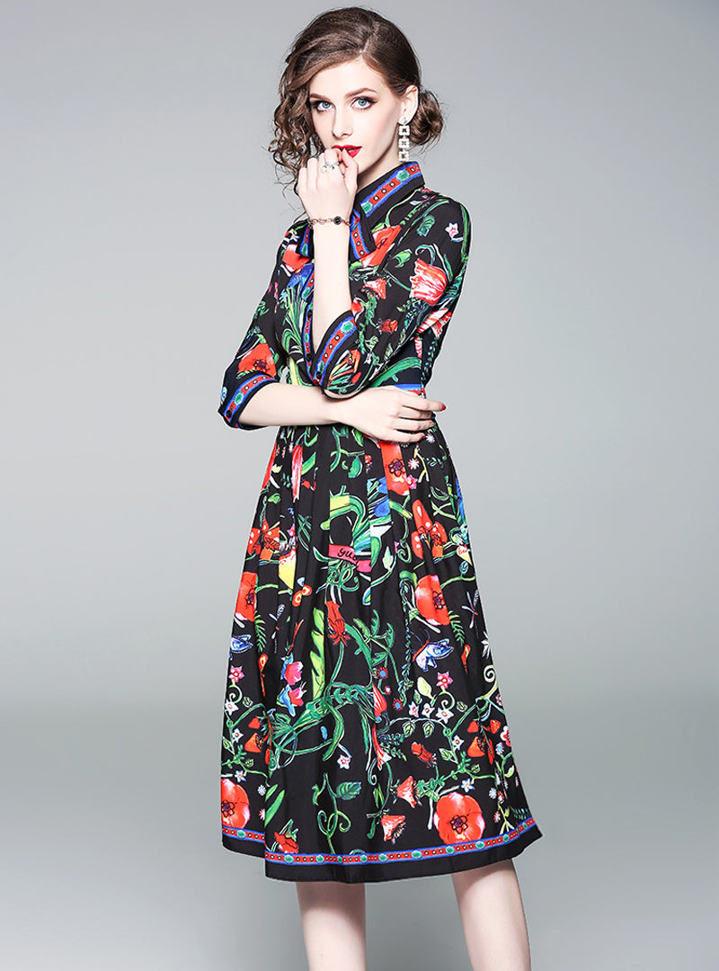 Floral Printed Bow Neck Midi Dress