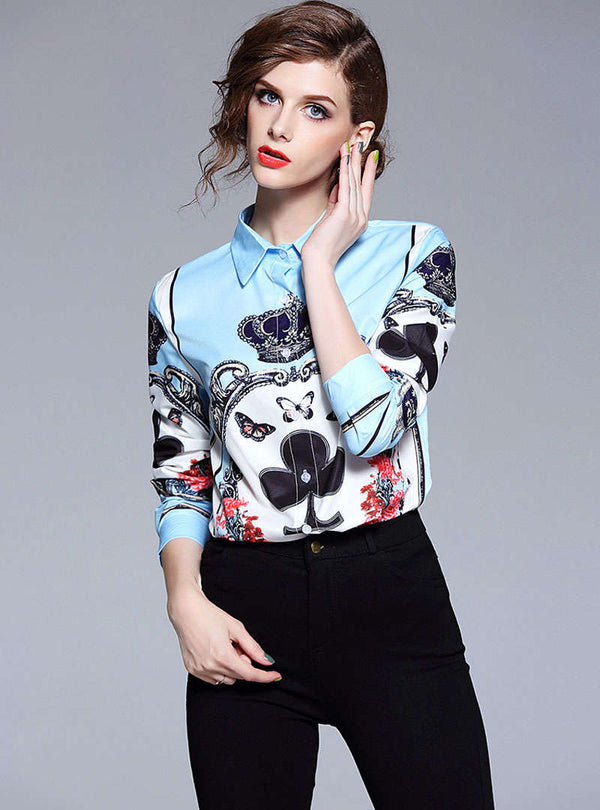 Light Blue Floral Printed Blouse