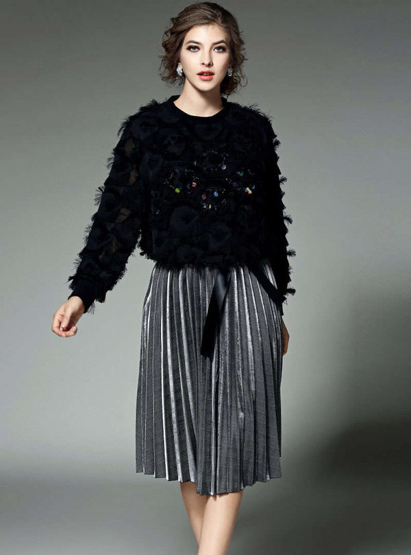 Black Paillette Top & Pleated Skirt Two Piece Suit