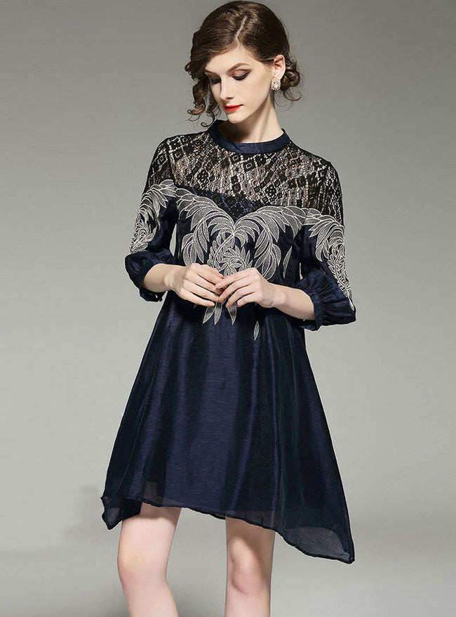 Nave Blue Lace Embroidered Mini Dress