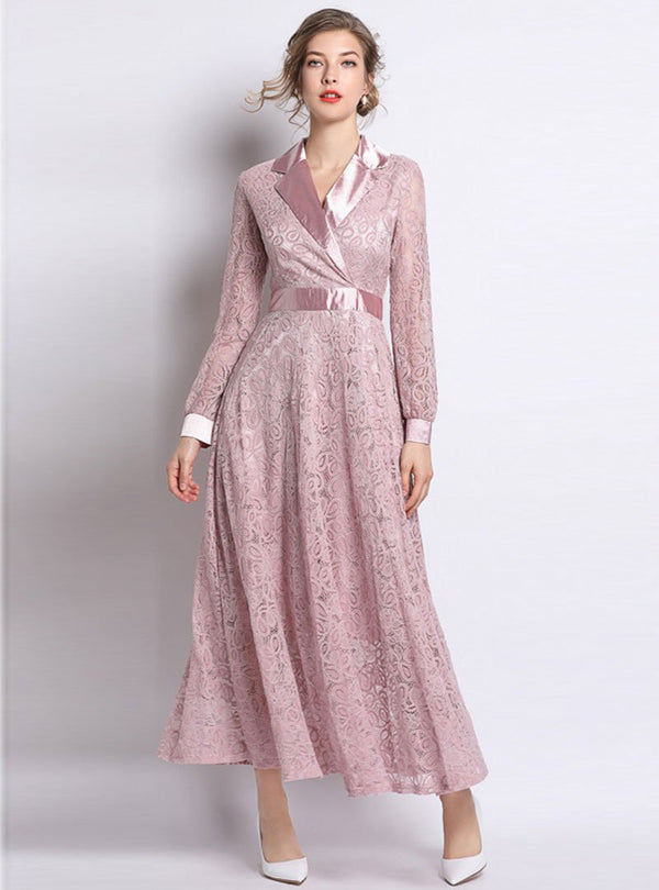 Stylish Lapel Long Sleeve Waist Big Hem Dress