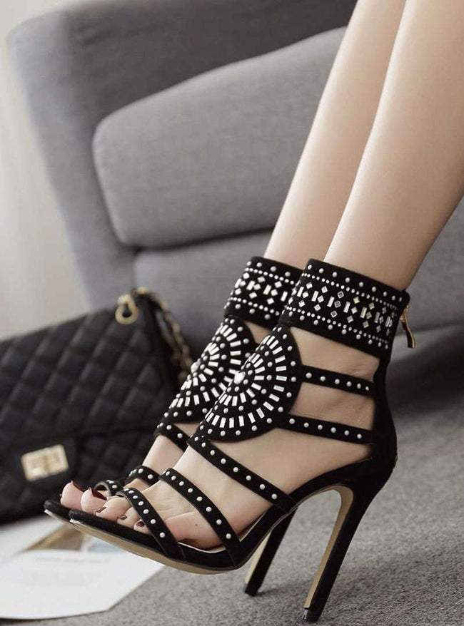 Black Diamond-Studded Stiletto Heel Sandals