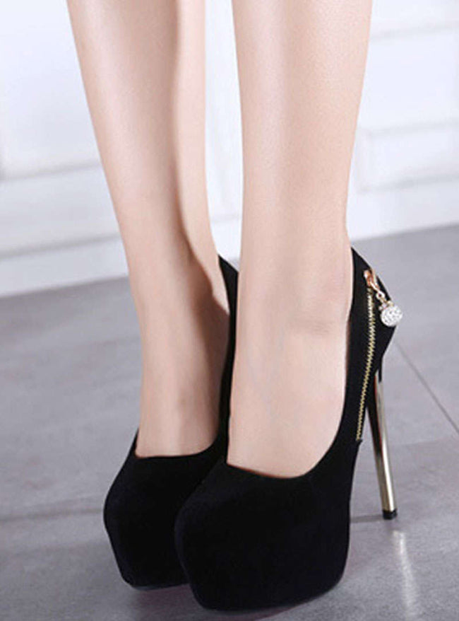 Suede Platform Stiletto Heels With Zipper
