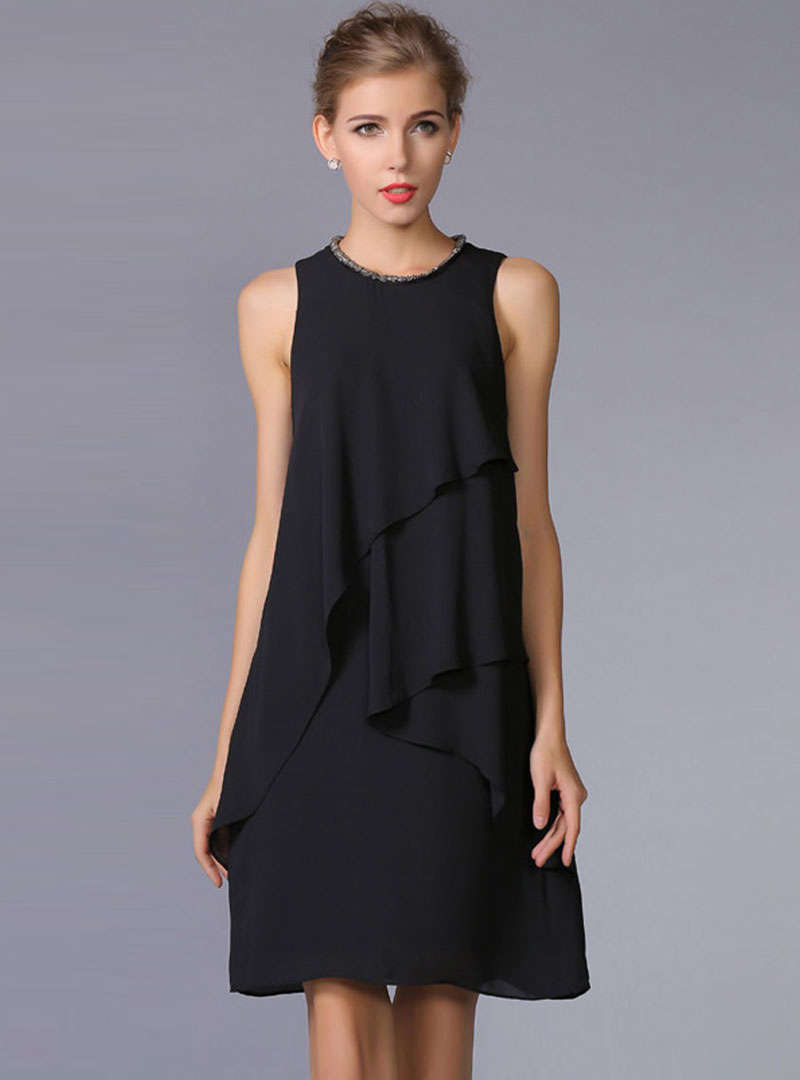 Black Sleeveless Chiffon Mini Dress