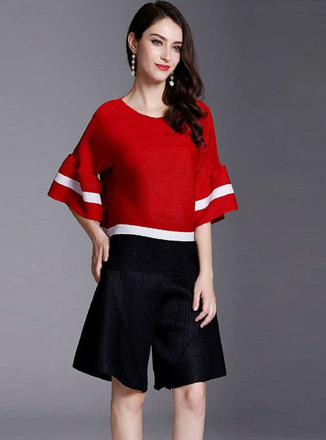 Matching Color Flare Sleeve Blouse & Pants