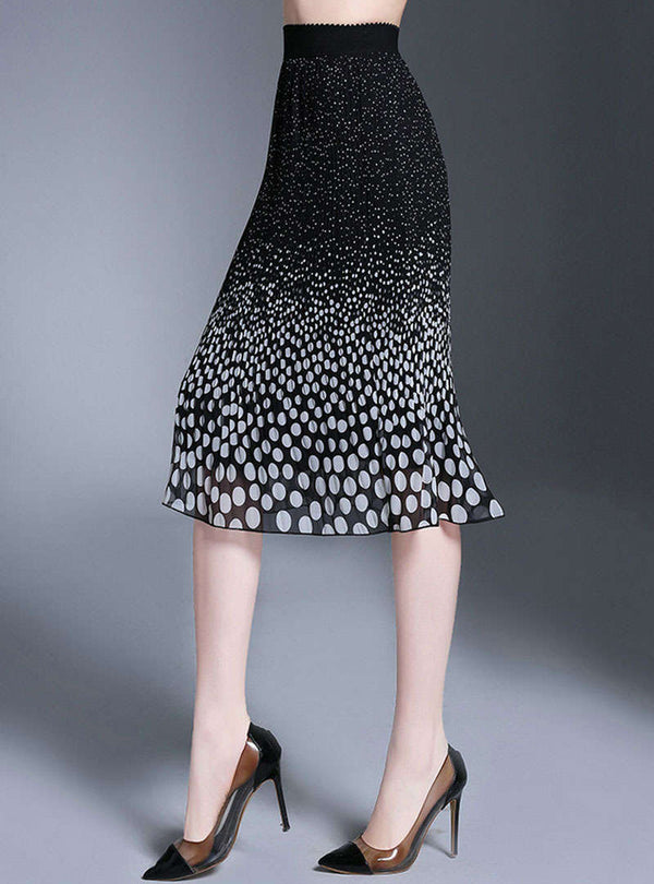 Black Chiffon Polka Dot Skirt