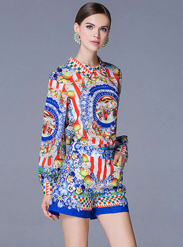 Multi Color Floral Printed Two Piece Suits