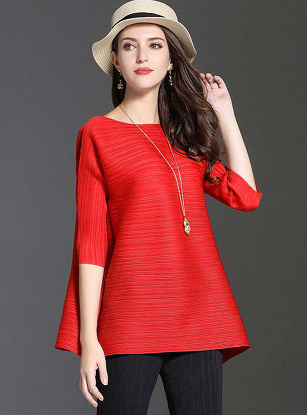 Solid Color Pleated Loose Blouse