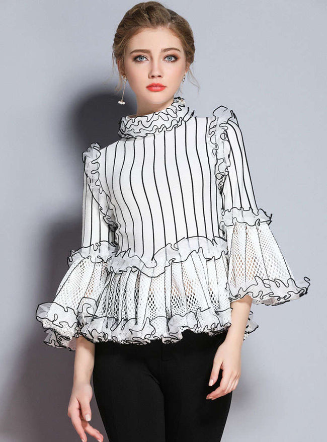 White Hollow Out Striped Knitted Sweater