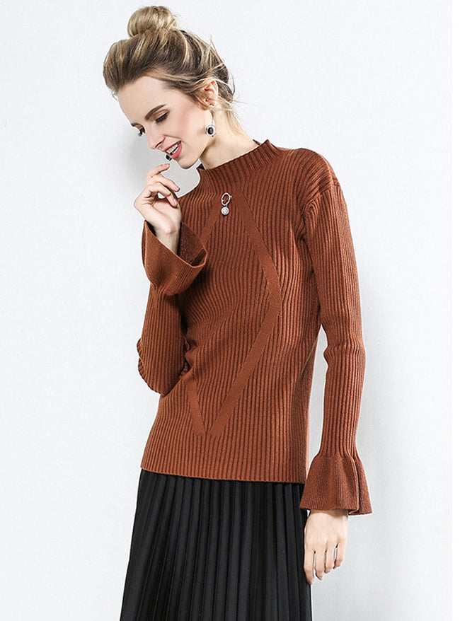 Solid Color Flare Sleeve Sweater