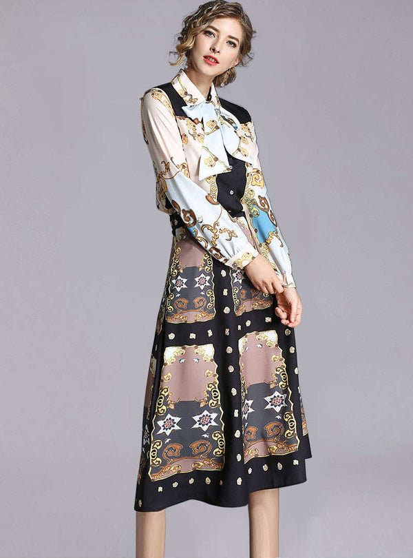 Match Color Bow Neck Printed Vintage Two Piece Suits