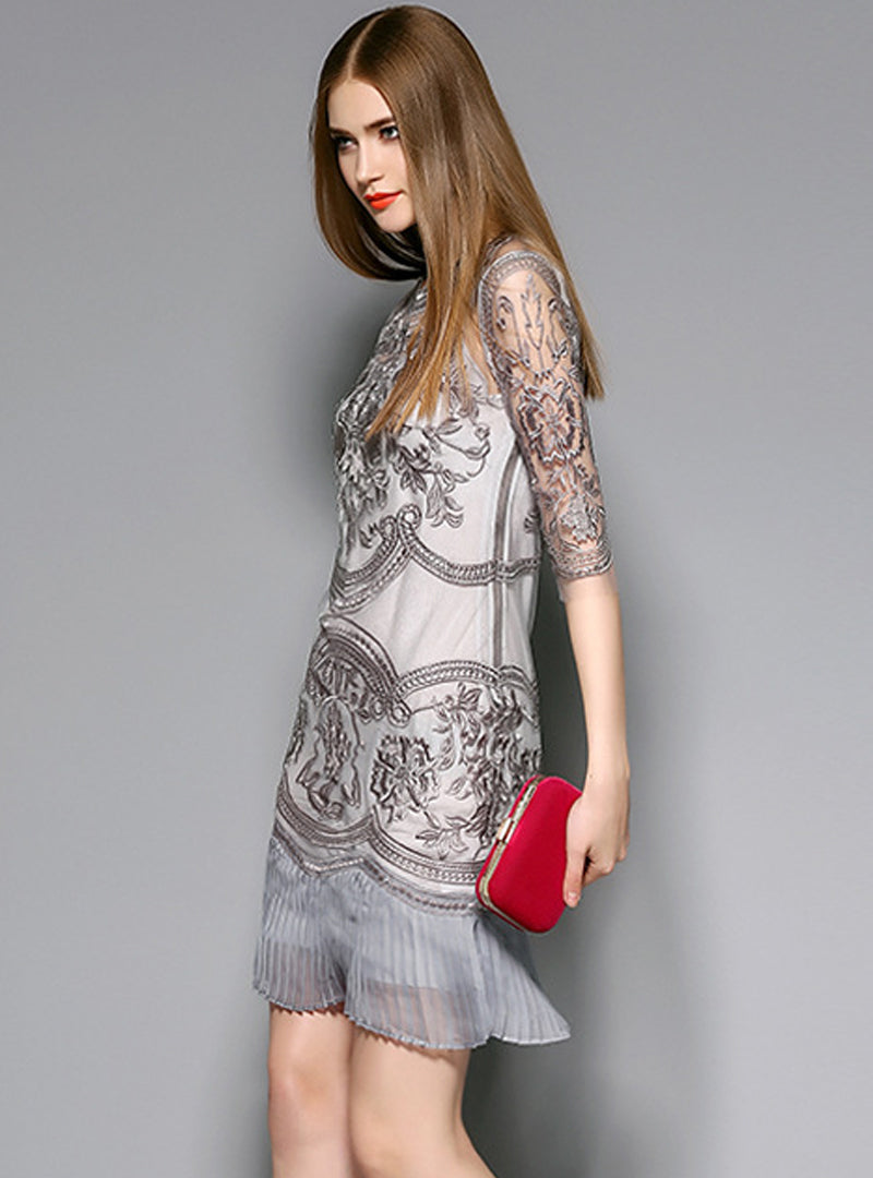 Grey Floral Embroidered Bodycon Dress