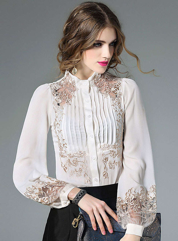 Embroidered Hollow Lantern Sleeve Silk Blouse