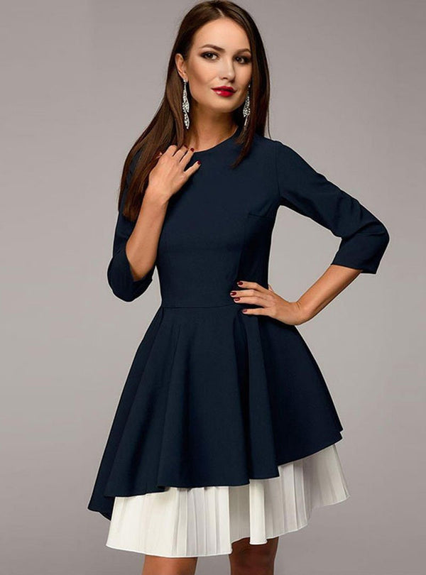 Matching Color Round-Neck Asymmetric Mini Dress