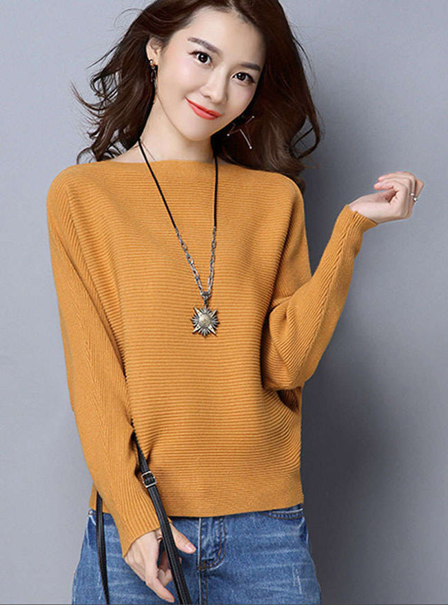 Solid Color Batwing Sleeve Sweater
