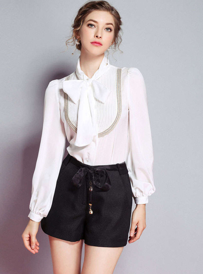 White Bow Neck Wrinkle Blouse