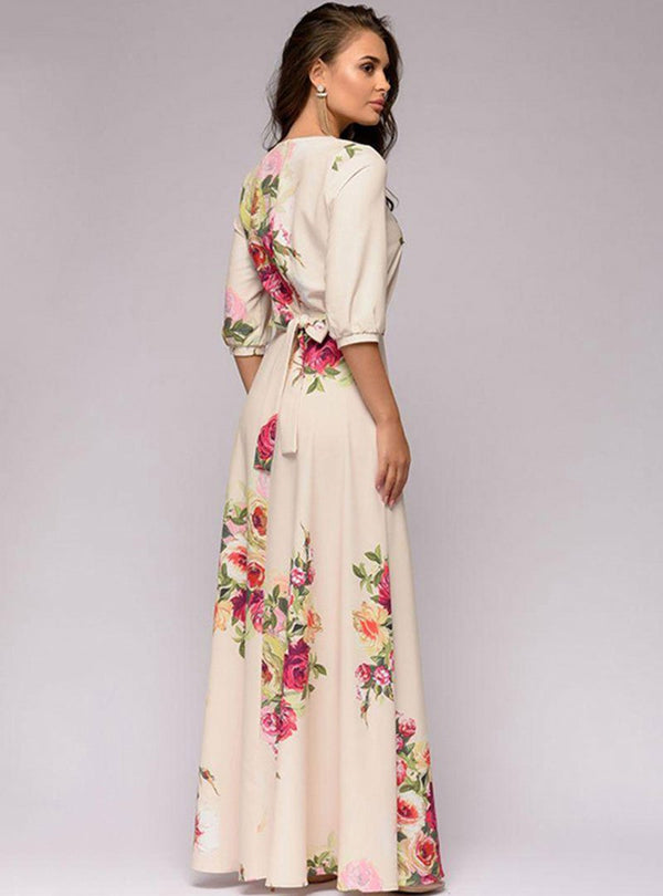 Beige Floral Printed Cinched Waist Half Sleeve Maxi Dress
