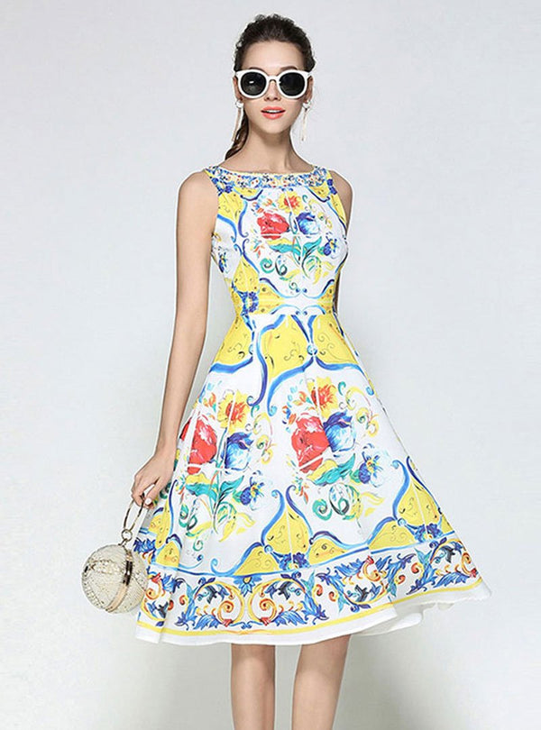 Yellow Floral Printed Boat Neck Swing Midi Dress