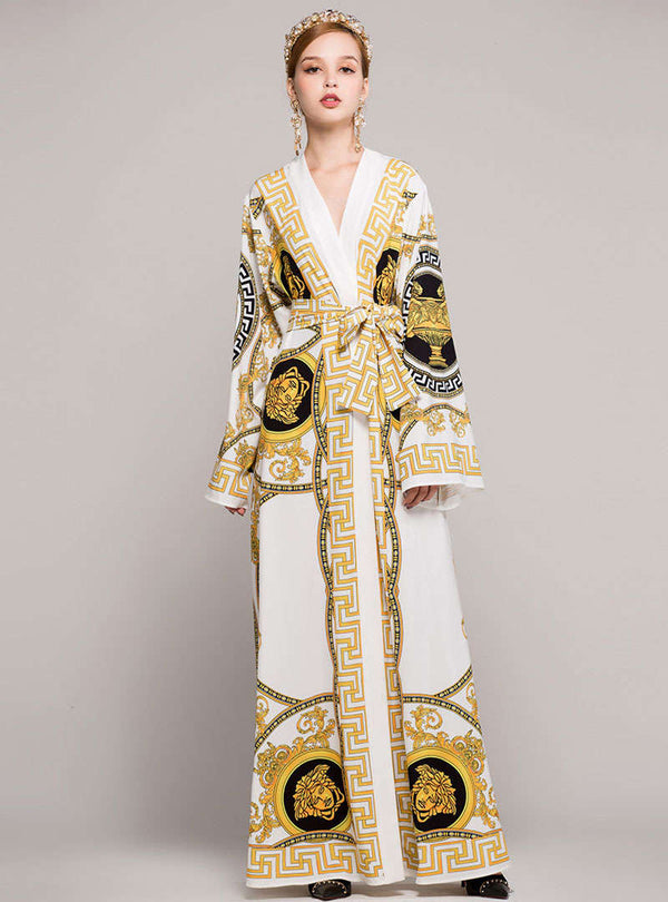 Golden Retro Floral Printed Belted Maxi Dress