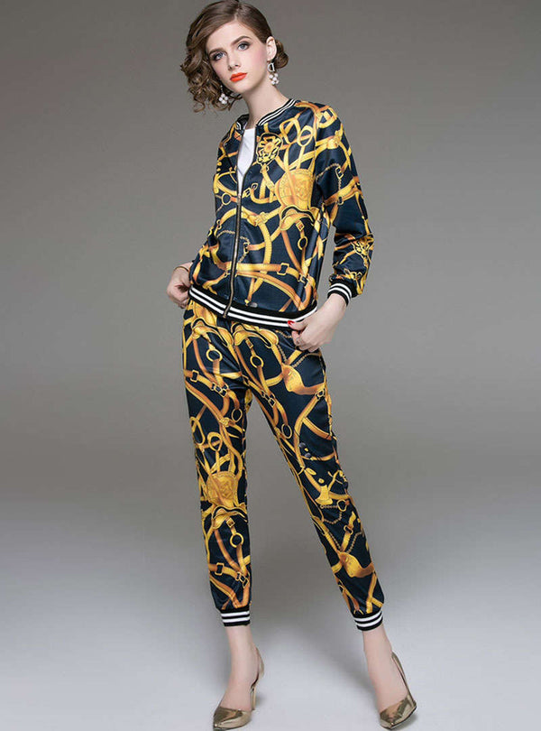 Multi Color Printed Casual Two Piece Suits