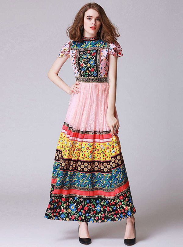 Multi Color Floral Printed Flare Sleeve Maxi Dress