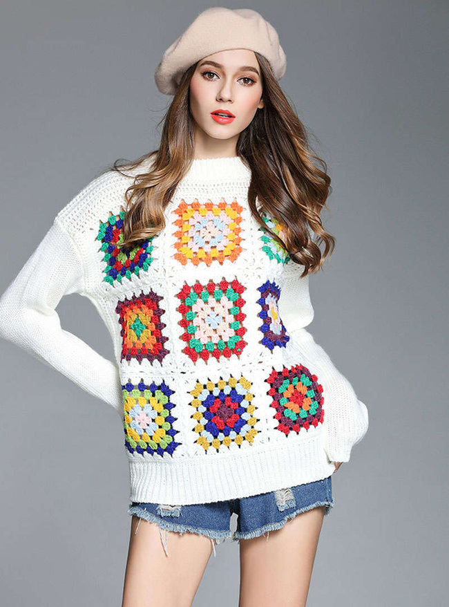 White Square Block Fashion Sweater