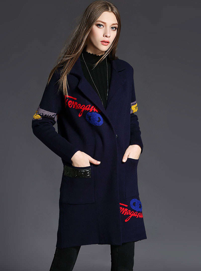 Embroidered Turn Down Collar Trench Coat
