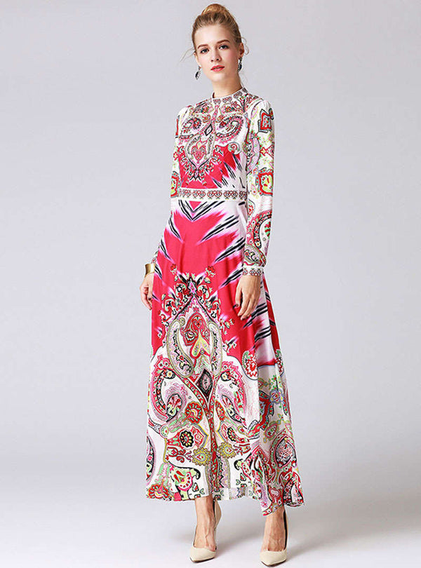 Pink Scenery Printed Ethnic Swing Maxi Dress
