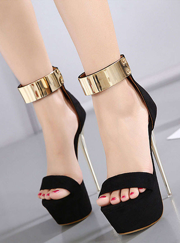 Suede Metal Ring Stiletto Heel Sandals