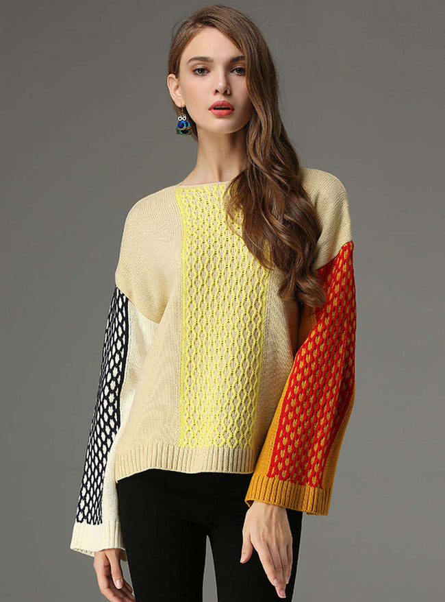 Casual Flare Sleeve Colored Square Sweater