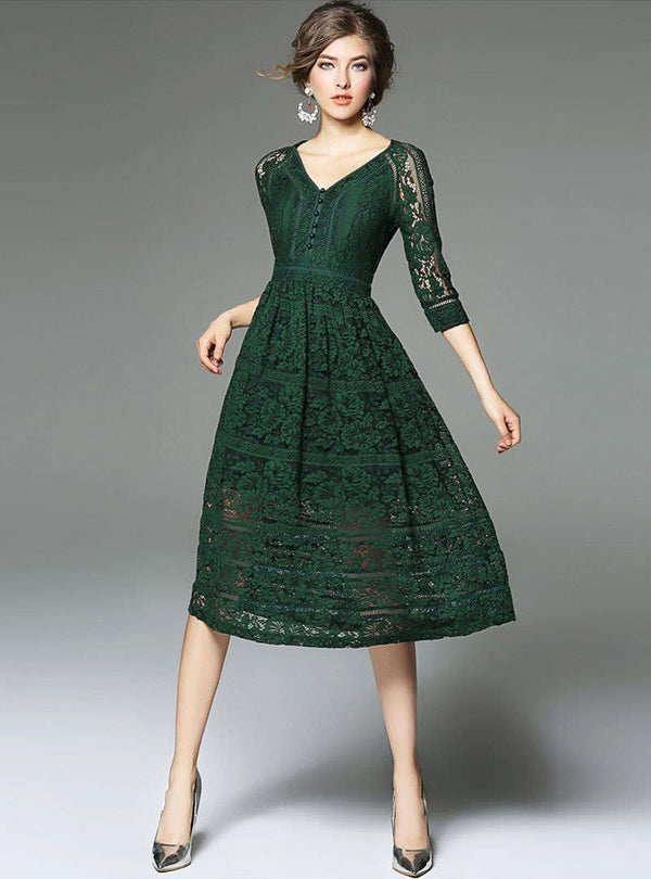Solid Color V-Neck Gathered Waist Lace Dress