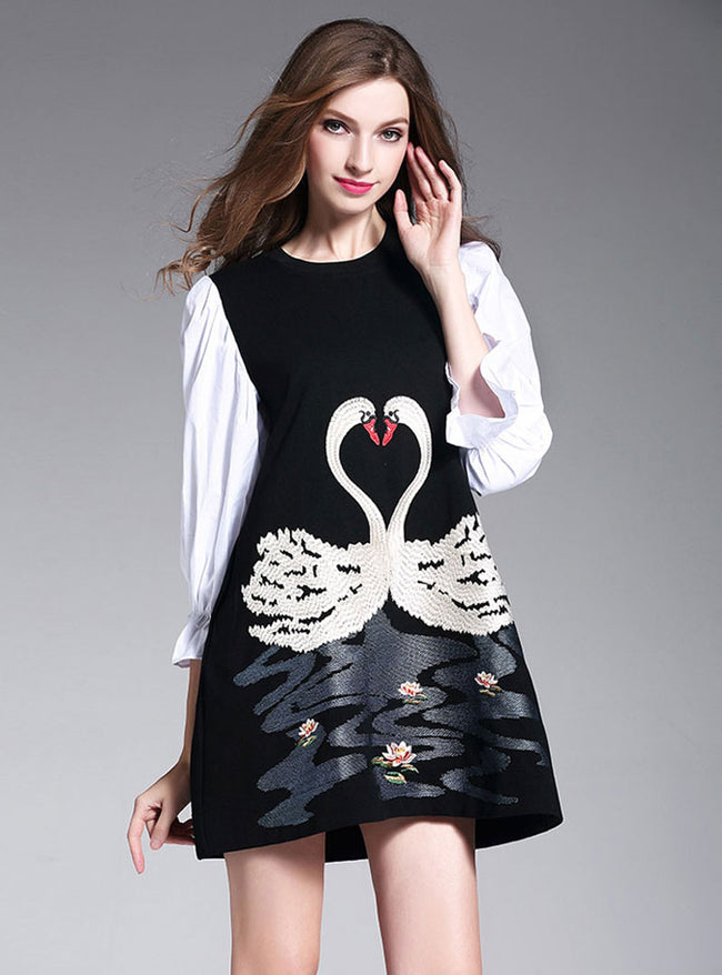 Black Embroidered Falbala Sleeve Mini Dress