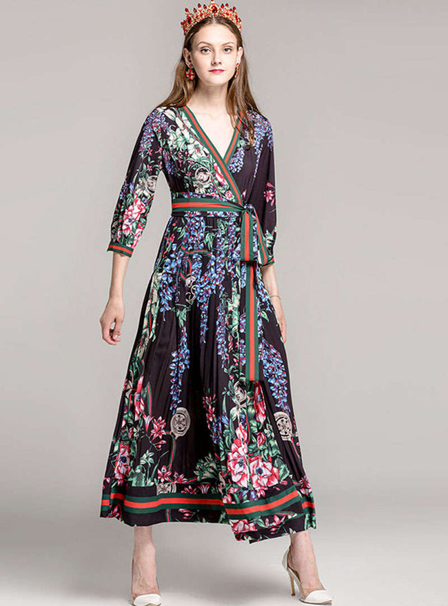 Floral Printed V-Neck Maxi Dress With Ribbon