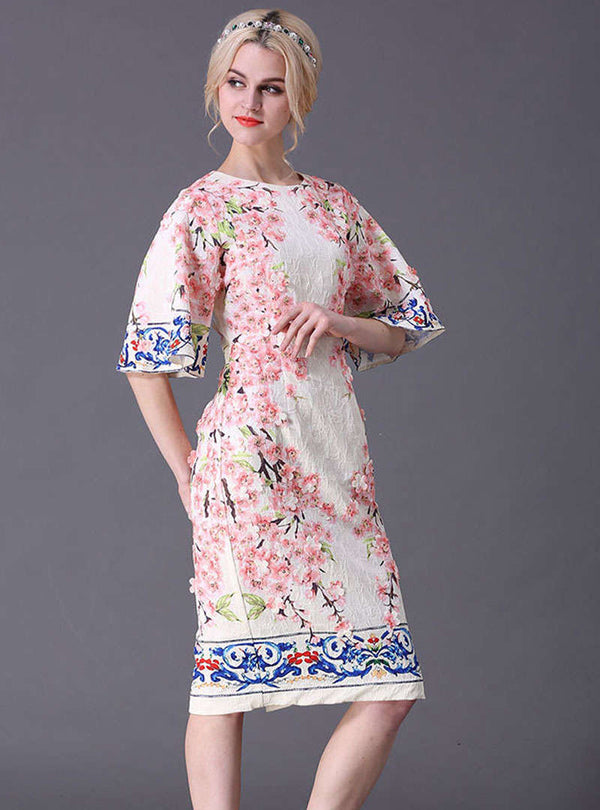 Multi Color Floral Printed Flare Sleeve Midi Dress