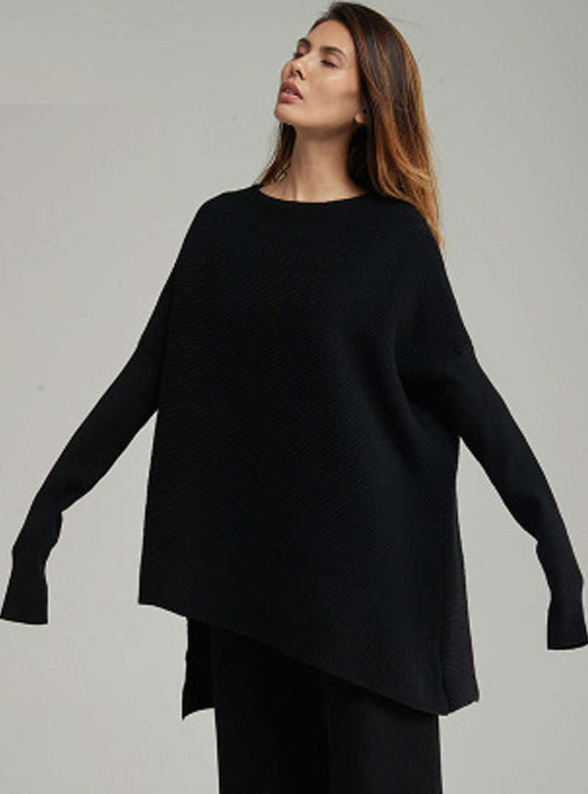Solid Color Asymmetric Woolen Sweater