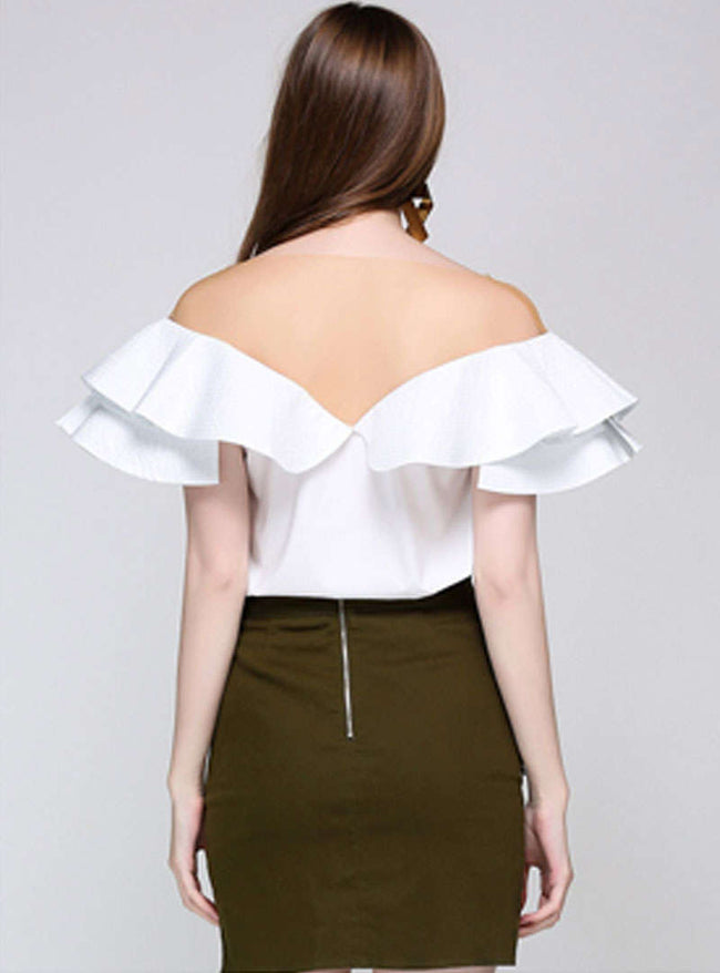 White Falbala Sleeve V-Neck Blouse