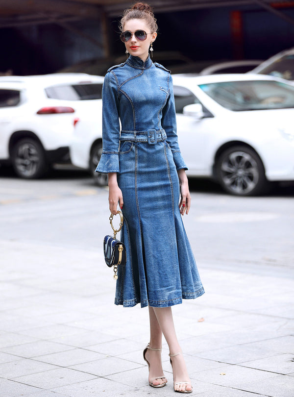 Blue Denim Belted Mermaid Dress