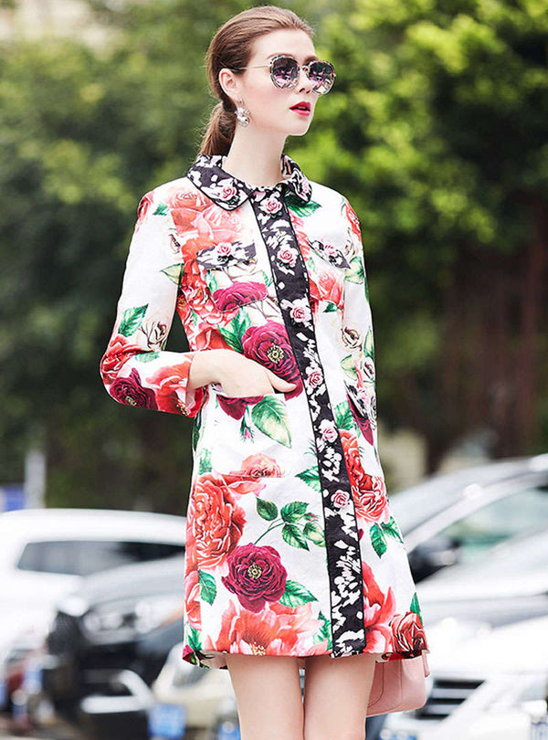 Floral Jacquard Lapel Side Pocket Trench Coat