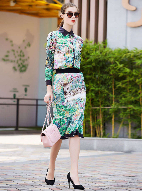 Hit Color Floral Printed Two Piece Outfits