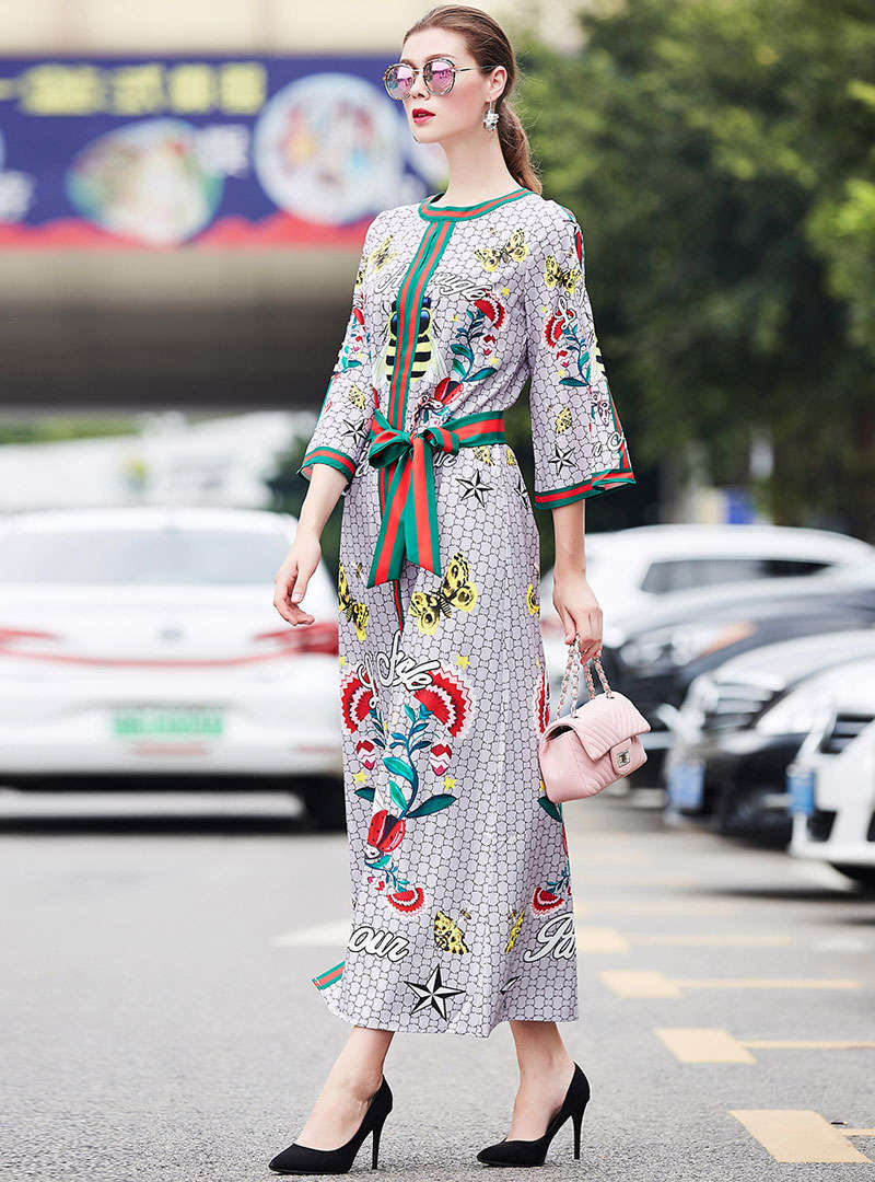 Cartoon Printed Lace-up Flare Sleeve Maxi Dress