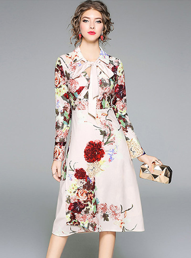 Pink Floral Printed V-Neck Midi Dress