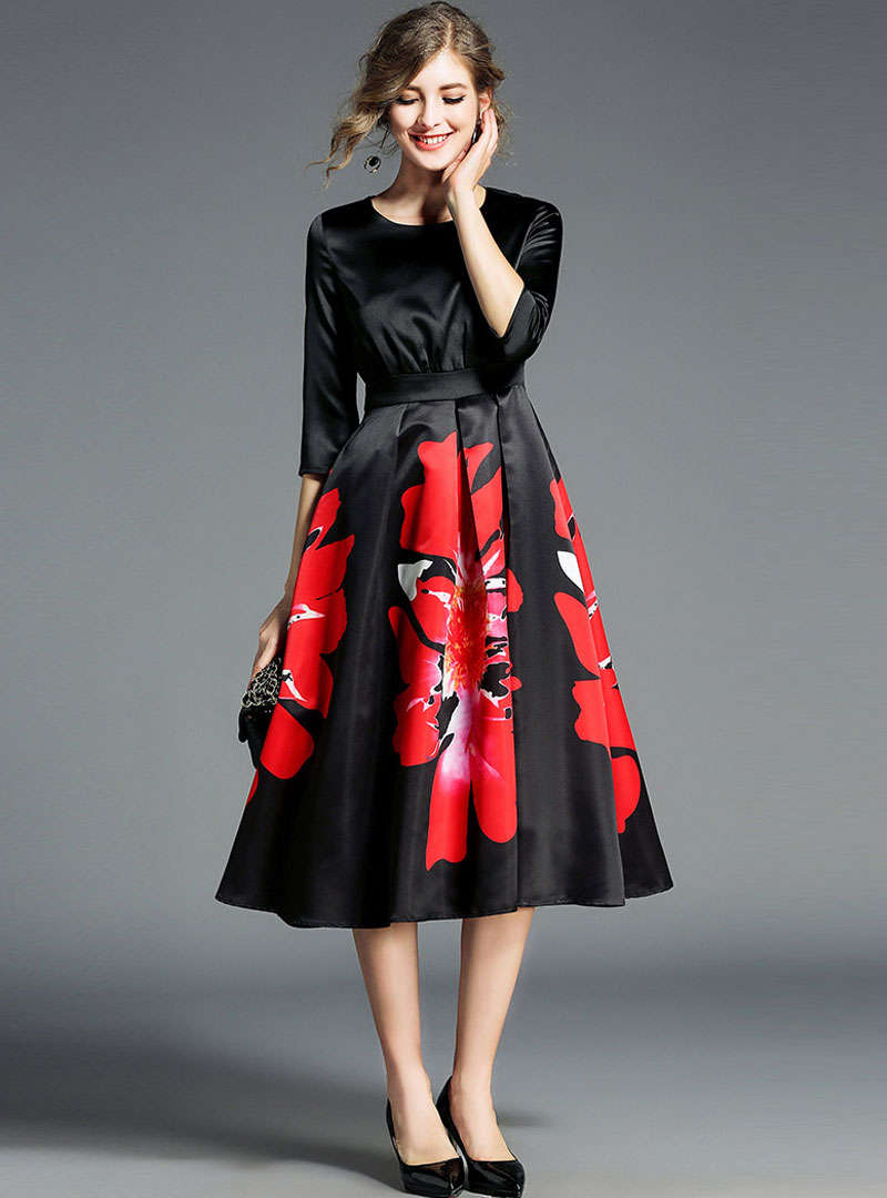 Black Floral Printed Swing Midi Dress